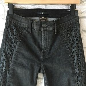 7 for All Mankind Black High Rise Skinny Jeans 26
